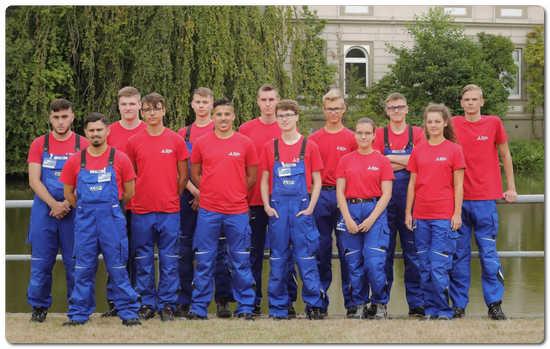 The new apprentices at Mitsubishi HiTec Paper, Bielefeld plant.