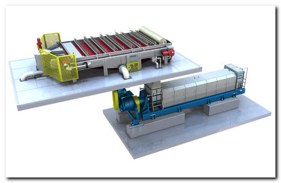 Schematic diagram of ANDRITZ sludge dewatering line with gravity table GT and sludge screw press SCS