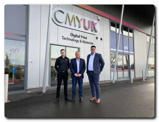 L to R: Joel Willcock, CMYUK Key Accounts & Textile Business Development; Robin East, CMYUK Group Director; Alexander van Es, Beaver Area Sales North West Europe.
