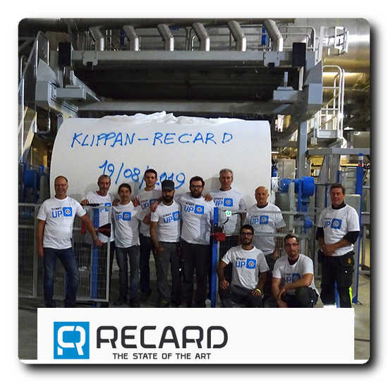 The Recard team and the first Jumbo reel during the start up at Klippan Bruck